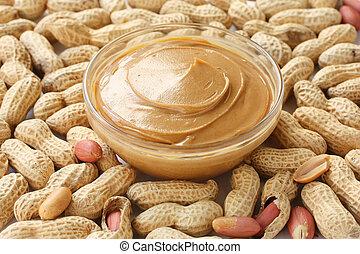 jordnötter, &, jordn smör