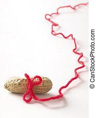 jordnötter, morot, och, käpp, begrepp