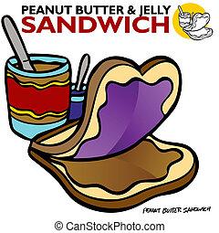 jordnød smør, gelé, sandwich