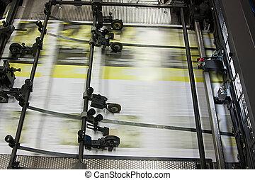 jornais, em, offset, impresso, máquina