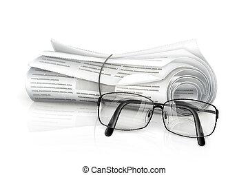 jornal, óculos