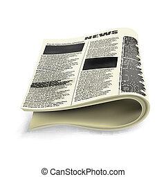 jornal, antigas, dobrado