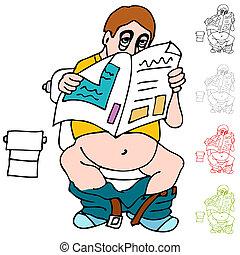 jornal, banheiro, leitura, homem, cansadas