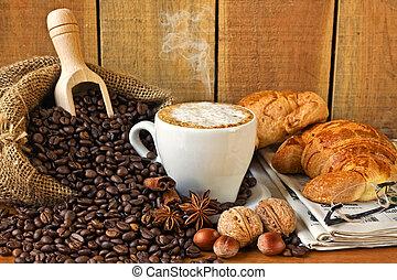 jornal, brioches, cappuccino, fundo