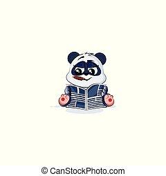 jornal, charuto, leitura, urso, panda