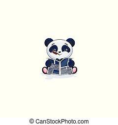 jornal, charuto, panda, leitura
