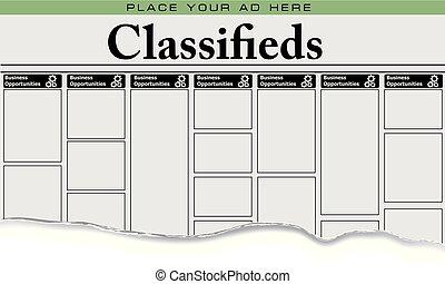 jornal, classifieds, negócio, oportunidades