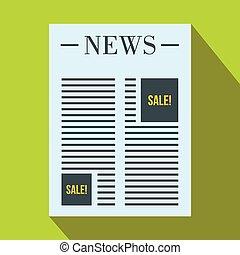 jornal, com, espaço, para, anúncio, ícone, apartamento, estilo