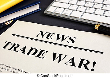 jornal, desk., comércio, guerra, título