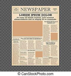 jornal, frente, antigas, página