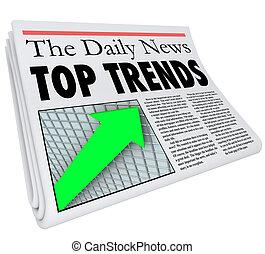 jornal, história, manchete, topo, relatório, tendências,...