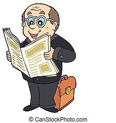 jornal, homem negócios, caricatura