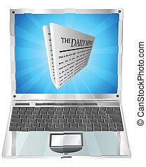 jornal, laptop, conceito