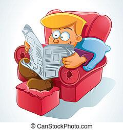 jornal, leitura, homem