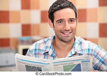 jornal, leitura, homem, cozinha
