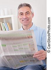 jornal, leitura, maduras, homem