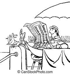 jornal, leitura, retro, mar, homem