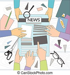 jornal, mãos, artigo, workspace, fazer, criando, escrita, ...