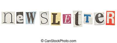 jornal, newsletter, cutout, letras