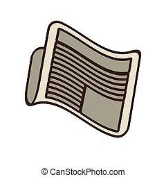 jornal, notícia, caricatura, letra, diariamente