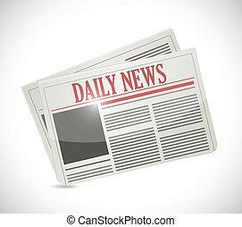 jornal, notícia, desenho, diariamente, ilustração