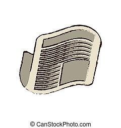 jornal, notícia, esboço, letra, diariamente