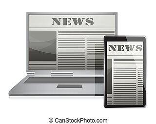 jornal, notícia, tela, conceito, negócio