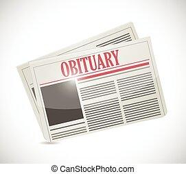 jornal, obituary, seção, desenho, ilustração