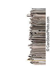 jornal, pilha, imagem, antigas, recortado