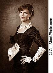 jornal, retrato, estilo, mulher, antigas