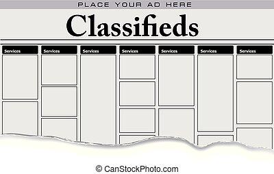 jornal, serviços, classifieds