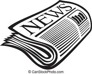 jornal, vetorial, ícone