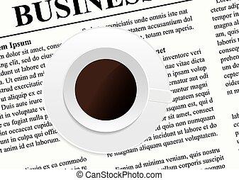 jornal, xícara café