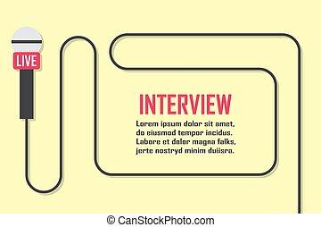 jornalismo, concept., viver, notícia, modelo, com, microphone., símbolo, quebrando notícia, ligado, tv, e, rádio