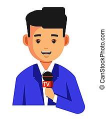 jornalista, ou, notícia, leitor, com, microfone,...