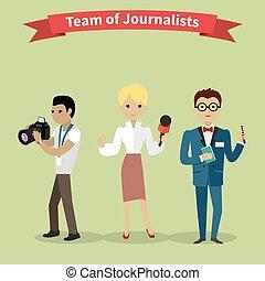 jornalistas, equipe, pessoas, grupo, apartamento, estilo
