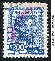 Jose Gervasio Artigas - URUGUAY - CIRCA 1972: stamp printed...