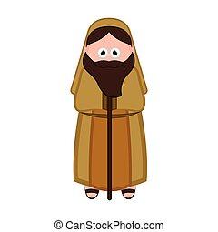 joseph, aislado, navidad, caricatura, character.