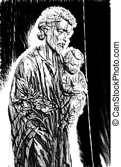 An abstract image of Joseph the worker and baby Jesus.