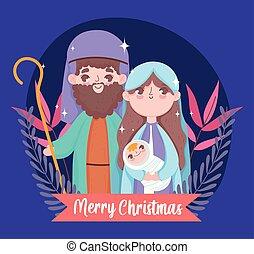 joseph, bébé, marie, joyeux, nativité, noël
