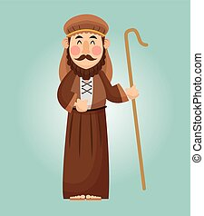 Joseph cartoon icon. Holy family and merry christmas season theme. Colorful design. Vector illustration