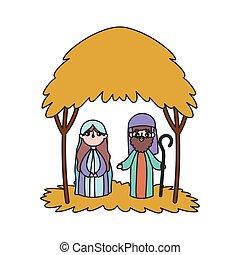 joseph, mangeoire, hutte, marie, nativity noël, joyeux