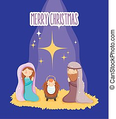 joseph, mangeoire, marie, bébé, nativity noël, joyeux
