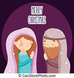 joseph, mangeoire, marie, nativity noël, prier, joyeux