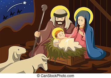joseph, maría, y, bebé jesús