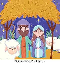 joseph, marie, joyeux, nativité, noël heureux