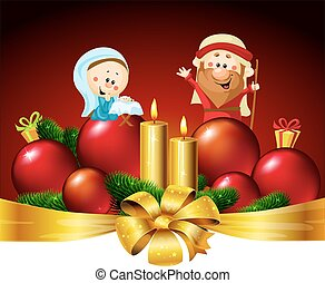 Joseph, Mary and Jesus  - Christmas vector banner design illustration with candle and xmas ball decoration