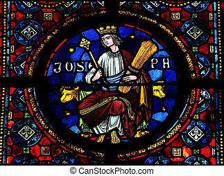 Joseph - Stained glass window in the Notre Dame church of ...