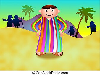 Joseph wearing his technicolour dreamcoat. With his brothers looking for him in the background.