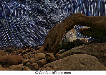 joshua, estrela, árvore, parque nacional, rastros, arco